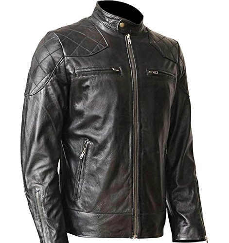 Black,WONDERPIEL Men's Black Genuine Lambskin Leather Biker Jacket Inspired by David Beckham With a Gun Pocket (Genuine Leather Racing Jacket)