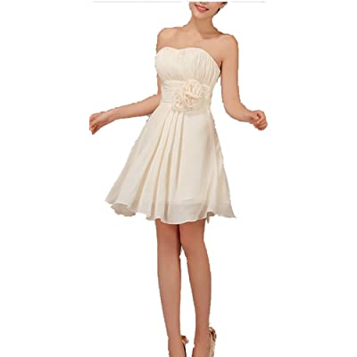 Kissprom Graceful Beige Short Pleated Empire Waist Bridesmaid Dresses with Floral Belt: Clothing