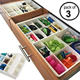 Adjustable Drawer Dividers for Utility Drawer Kitchen Storage and Organization by Uncluttered Designs (3 Pack)