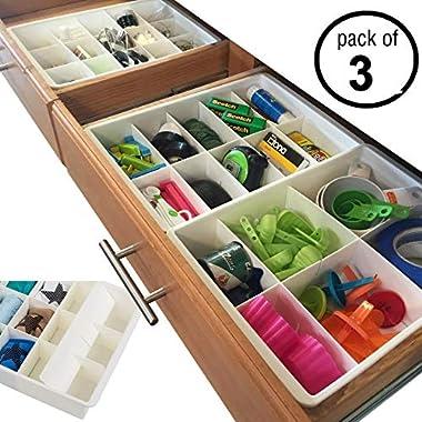 Uncluttered Designs Adjustable Drawer Dividers for Utility Drawer Kitchen Storage and Organization (3 Pack)