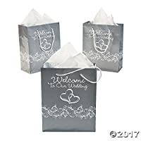 "Two Hearts""Welcome To Our Wedding""Gift Bags 1 Dozen by adventure's bag"