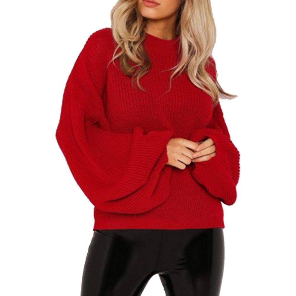 Fashion Women Knitted Solid Long Sleeve Lantern Sleeve Tops Baggy Sweater Pullover