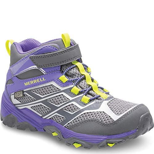(Merrell Moab FST Mid A/C Waterproof Boot Big Kid 4 Grey/Purple)
