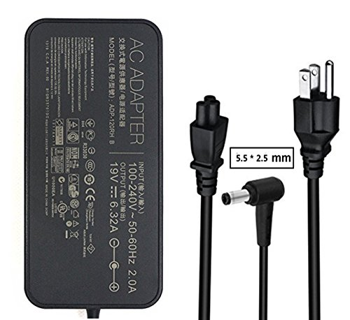 120w Laptop Adapter (19V 6.32A 120w AC Adapter Charger ADP-120RH B,PA-1121-28,ADP-120ZB BB for ASUS ROG GL502 Q550LF N550JV F554LA GL551JM GL551JW GL771JM R500VJ R510CA R700VJ X750JB N550JX N750 X550JK G50 G51J Series)