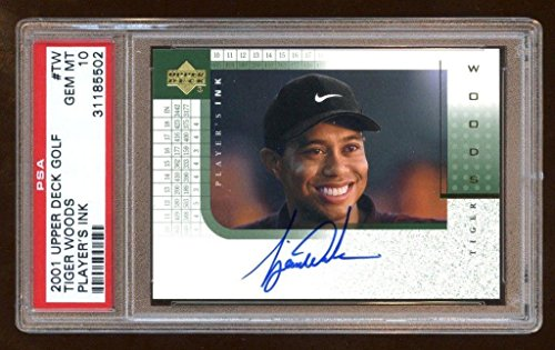 Tiger Woods Autographed Card - 10 Tiger Woods 2001 Ud Player's Ink Rc Auto Sp Autograph Oncard Beautiful ! - PSA/DNA Certified - Autographed Golf Cards