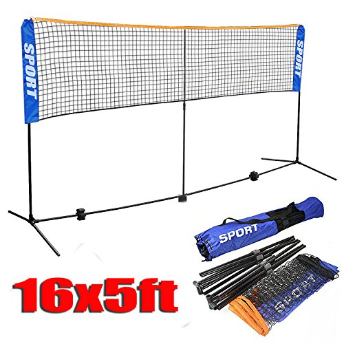 16' Double Ball (Yaheetech 16 ft Portable Badminton/Tennis/Volley Net Set Adjustable Height Poles Frame Stand Indoor/Outdoor Professional Sports Training Net with Carry Bag)