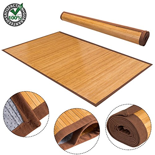 Damask Sisal Rug (Produit Royal 5' X 8' Bamboo Floor Mat Rug Carpet Natural Bamboo Area Rugs Roll Wood Entrance Indoor Outdoor Kitchen Bath Bathroom Décor Home Office)