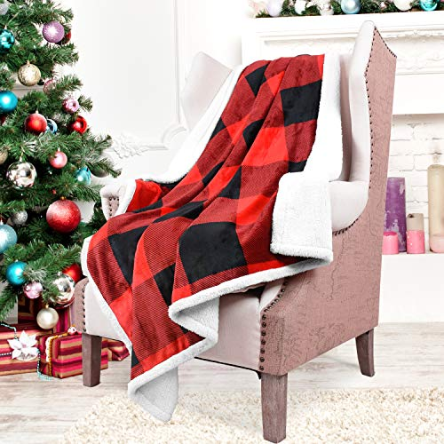 """- Catalonia Red Plaid Sherpa Throw Blanket,Reversible Super Soft Warm Comfy Fuzzy Snuggle Micro Fleece Plush Christmas Throws for Bedding Couch TV 60"""" x 50"""" Buffalo Check"""