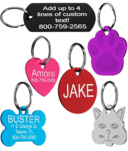 2e64b68e3e07 Pet ID Tags - 8 Lines of Engraving Available | Size Small or Large | Bone  ...