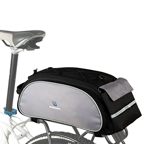 ROSWHEEL 13L Bicycle Bike Cycling Saddle Back Seat Rack Bag Pouch with Elastic Strap on Top for Outdoor Riding Traveling Black
