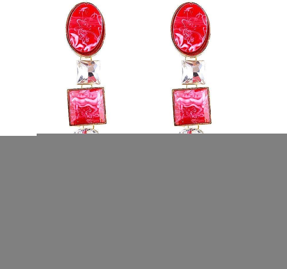 MKmd-s Los nuevos Pendientes Brillantes Largos de Resina con Tachuelas de aleación, los Pendientes Elegantes y Coloridos, te Hacen más Rojo Brillante