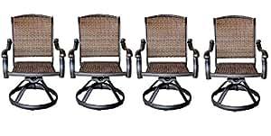 Patio al aire libre Santa Clara giratorio Rocker silla de comedor conjunto de 4muebles de aluminio fundido sólido bronce oscuro