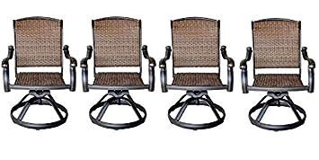 Patio Outdoor Santa Clara Swivel Rocker Dining Chairs Set Of 4 Solid Cast  Aluminum Furniture Dark