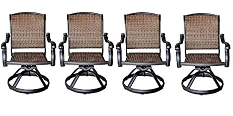 Patio Outdoor Santa Clara Swivel Rocker Dining Chairs Set Of 4 Solid Cast  Aluminum Furniture Dark