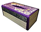 Tissue Box Cover Thai Handicarft Woven in Rectangular Made From Thai Silk and Reed Straw with Extra Silk Elephant and Flower Design 5x3.7x10.2 Inches