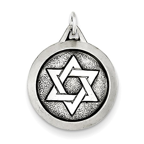 Lex & Lu Sterling Silver Antiqued Star of David Medal-Prime