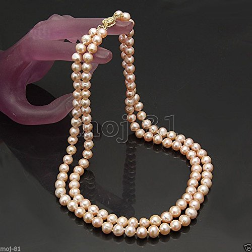 Row Pink Freshwater Pearls (2 Rows 7-8mm Real Natural Pink Akoya Freshwater Pearl Necklace 17-19'' AAA)
