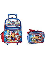 PP Paw Patrol Set of Deluxe 16 Rolling Large Backpack and Matching Lunch Bag/Box