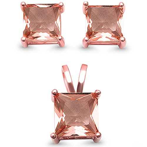 [Sterling Silver Rose Gold Plated Square Princess Solitaire Simulated Morganite Earring & Pendant Set] (Stone Pendant Earrings)