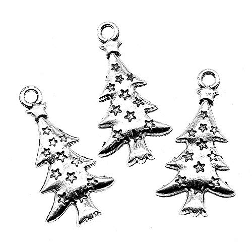 - WYSIWYG 30 Pieces Charm Metal Pendant Charms Christmas Tree Pine Tree Star Tree 27x14mm Supplies for Jewelry Findings Components