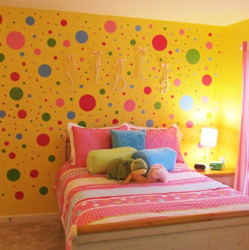 Create-A-Mural 126 Fun Polka Dot Wall Stickers, Peel & Stick Wall Dots Decals- Vinyl Polka Dot Wall Sticker Decor (Polka Dot Decor)