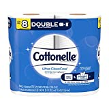 Cottonelle Toilet Paper, 4 Double Rolls (Equal to 8 Regular Rolls), Ultra CleanCare, Soft Bath Tissue, Biodegradable, Septic-Safe