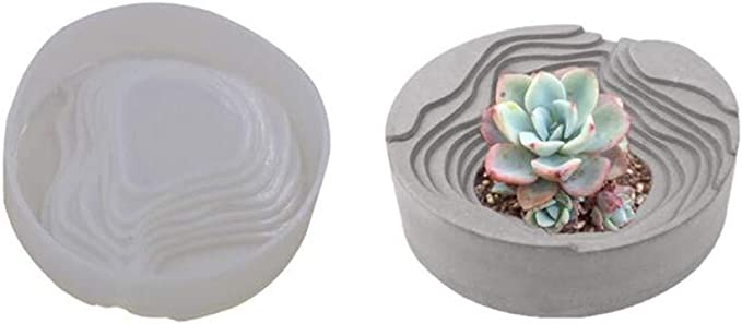 Bonsai-Deko-Formen mini house Beton-Zement-Form Sukkulenten-Vasen-Blumentopf-Form Kerzenst/änder-Form 3D Runde und quadratische Treppen-Blumentopf-Silikonform Gips-Form