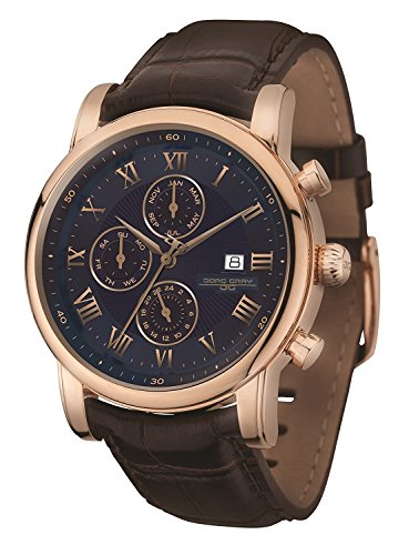Jorg Gray | Rose Gold Stainless Steel Watch w/Brown Leather Band | JG7600-33 | Blue w/Rose Gold Dial (Jorg Gray Watch)