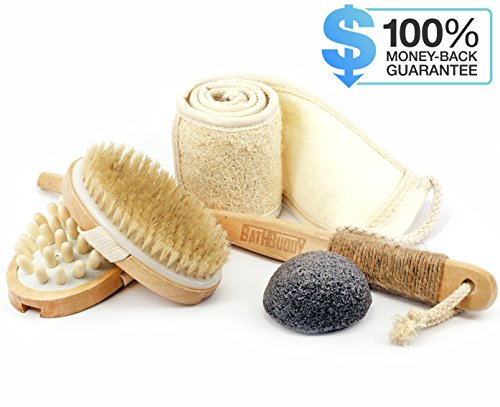 Body Brush from Natural Boar Bristle, for Dry