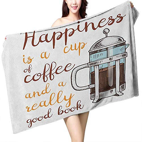 flymeeo Absorbent Towel Coffee French Press with Hot Aromatic Beverage and Hand Written Style Inspirational Quote W20 xL39 Suitable for bathrooms, Beaches, Parties