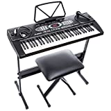 Alesis LQSM Melody61 61 Key Portable Electronic Keyboard with Built inSpeakers Stand Bench Microphone Black