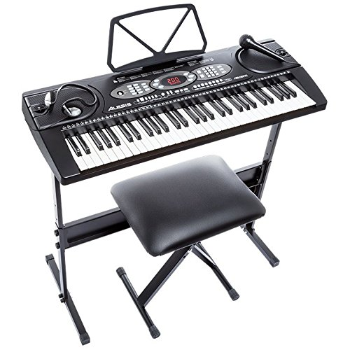 Alesis Melody 61 Beginner Bundle | 61-Key Portable Keyboard with Stand, Bench, Headphones, and Microphone (Beginners Piano Keyboard)