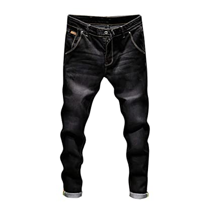 Men Jeans Daoroka Mens Ripped Slim Fit Straight Zipper Denim Pants Vintage Style Motorcycle with Broken Holes (28, Black)