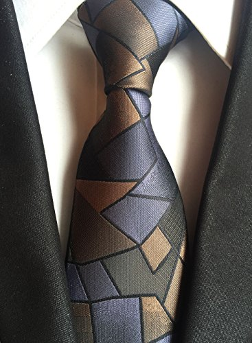 New Classic Geometric Brown Stone Lines JACQUARD WOVEN Silk Men's Tie Necktie