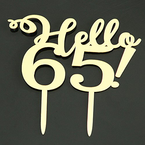 LOVELY BITON Gold Hello 65 Cake Topper Shining Numbers Letters for Wedding, Birthday, Anniversary, Party.