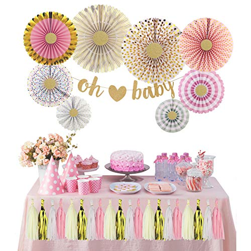 The Peacock Shop | Baby Shower Decoration Kit | Oh Baby | Gender Neutral | Girls | Nursery Décor | Gender Reveal | Pink and Gold Party Décor | Paper Fans | Hanging Tassels | Glitter Gold | Multi-Color