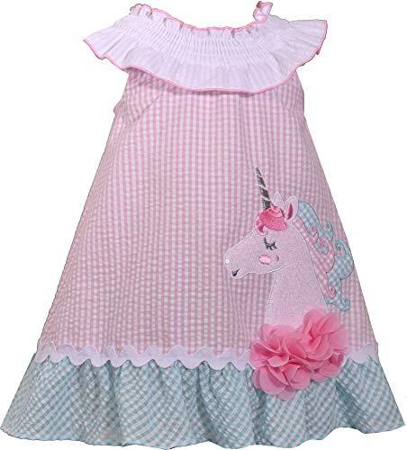 Bonnie Jean Girls Seersucker Unicorn Dress (0m-6x) (12 Months) Pink]()