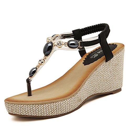 Bead Wedge Sandal - U-MAC Womens Mid Wedge Heel Summer Shoes Flip Flops Thongs Bohemian Rhinestone Bead Platform Sandals Black