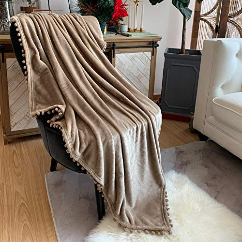 LOMAO Flannel Blanket with Pompom Fringe Lightweight Cozy Bed Blanket Soft Throw Blanket fit Couch Sofa Suitable for All Season (51x63) (Khaki) ()