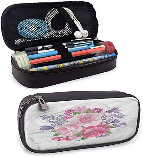 Estuche de lápices de pie de color malva Bouquet Peony Lilies Roses Bolso de lápices pequeño: Amazon.es: Oficina y papelería