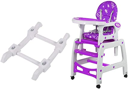 3 in 1 Baby High Chair Convertible Play Table Seat Booster Toddler Feeding Tray(Purple)