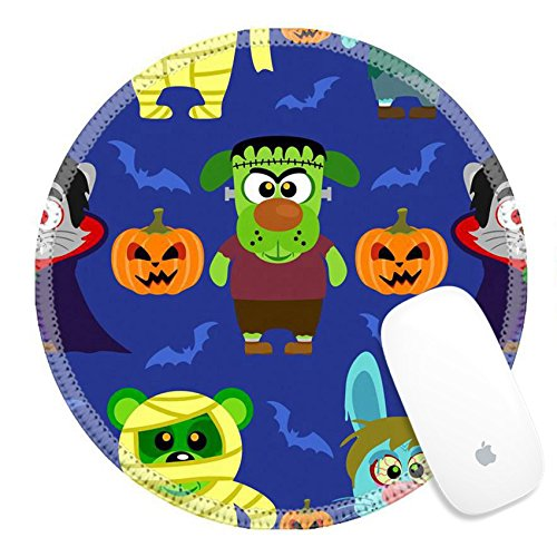 Dracula Picture Costume (Luxlady Round Gaming Mousepad 31870702 Seamless with animal in Halloween costume)