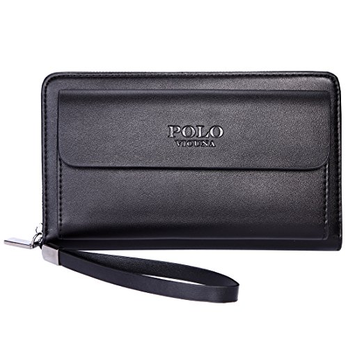 Clutch Polo - VICUNA POLO Mens Clutch Handbag Wallet for Men Purse Large Capacity Men Bag (black)