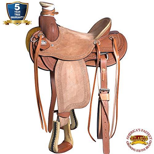 16″ Western Horse Saddle Leather Wade Ranch Roping Tan Hilason