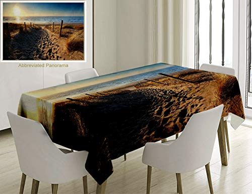 - Unique Custom Cotton and Linen Blend Tablecloth Seaside Decor Collection Walkway to Beach in North Sea Zandvoort Aan Zee North Holland Netherlands ImaTablecovers for Rectangle Tables, 60 x 40 inches