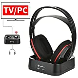 Wireless Headphones for TV Watching, Wireless RF Headphones with Transmitter RCH-900 Over-Ear Stereo Headset, 100 ft Wireless Range and Rechargeable 15 Hour Batteries (NO Optical), Black