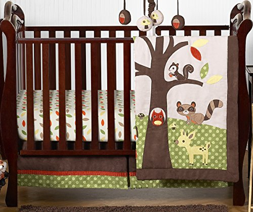 (Woodland Forest Animals Owl Deer Tree Baby Boy Nature Bedding 4 Piece Crib Set Without Bumper)