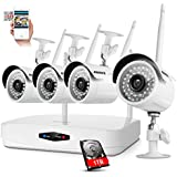 ANNKE 4Channel 1080P NVR Security Camera System with 4PCS 720P Outdoor/Indoor Weatherproof Surveillance IP Camera,Email Alarm,Motion Detect,Phone Access,1TB Hard Drive Included