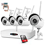 ANNKE 4CH NVR Outdoor Wireless Home Security Surveillance Camera System, 960P Surveillance NVR with 4x 720P Weatherproof In/outdoor IP Camera, Automatic Connection with IP, Free DDNS( One 1TB HDD)