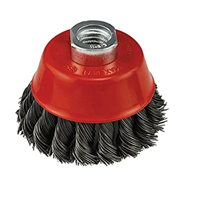 IVY Classic 39040 4-Inch x 5/8-Inch-11 Arbor, Carbon Steel Knot Wire Cup Brush - 0.020-Inch Coarse, 1/Card